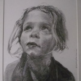 An artist's drawing in charcoal of Lily