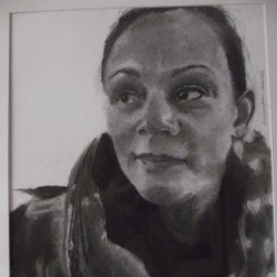 Charcoal drawing of woman