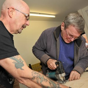 Shed members Bill Johnston and Martin Courtney working in the Shed