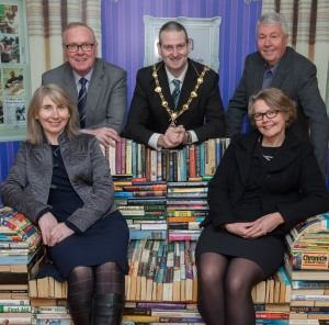 Back row (l-r): Tony McCusker from the Community Foundation for Northern Ireland; Mayor of Derry Councillor Martin Reilly; and Frank Hewitt from the Big Lottery Fund. Front row, Shauna Kelpie from the Community Foundation for Northern Ireland (left) and Joanne McDowell from the Big Lottery Fund.