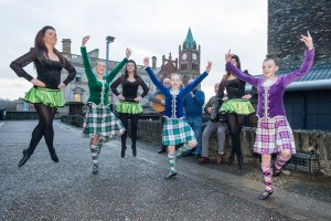Highland and Irish dancers from North West Tongues, Tones and Tappin' performing on Derry's Walls