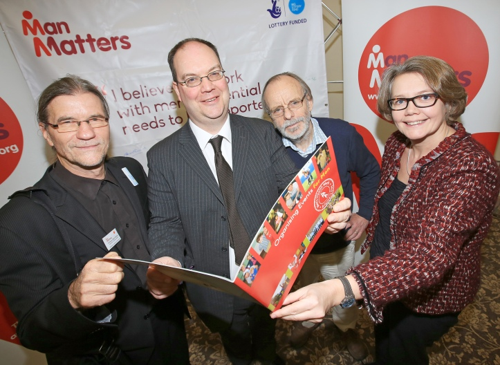 Speakers at the Conference: L-R Professor Barry Golding, President Australian Men's Sheds Association, Diarmuid Moore, Man Matters, Dr Ian Banks, President of European Men's Health Forum and Joanne McDowell, Director of Big Lottery Fund for NI
