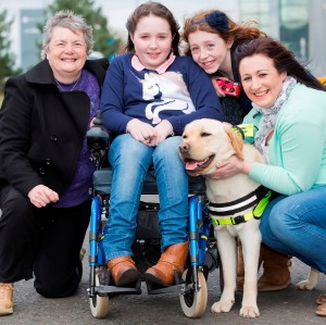 L-R, Trainer Sylvia Newell, Beth, Ela and mum Sharon McGurk from Dromara with Bailey