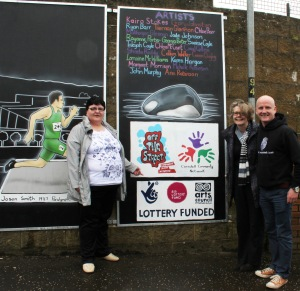 From left, resident Karen Harrigan with Big Lottery Fund's Joanne McDowell and artist Sean O'Donnell