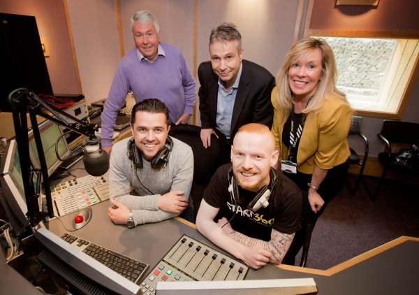 Back row, from left: Frank Hewitt, Big Lottery Fund NI Chair, Mark Mahaffy, Regional Managing Director at Cool FM and Anne-Marie McClure, Chief Executive of Start360  Front row, from left: Cool FM's Pete Snodden and Conor McHugh