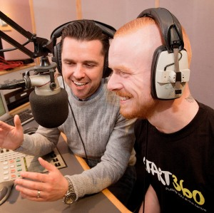 Cool FM DJ Pete Snodden and Start360 volunteer Conor McHugh at the Cool FM studio