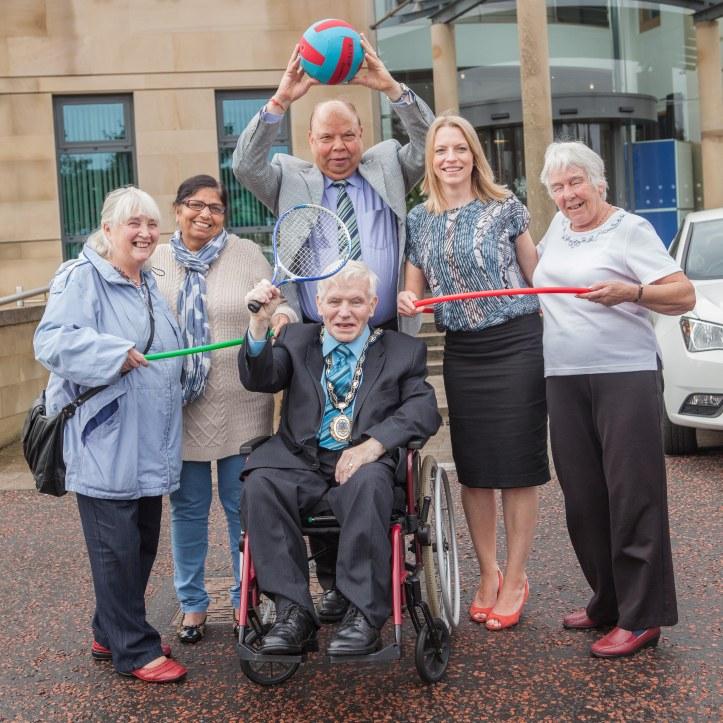 From Left, Bernie Reid, Sneh Puri, Raj Puri, Gail McKechnie, Betty McCormick, and Mayor of Castlereagh, Alderman Jack Beattie
