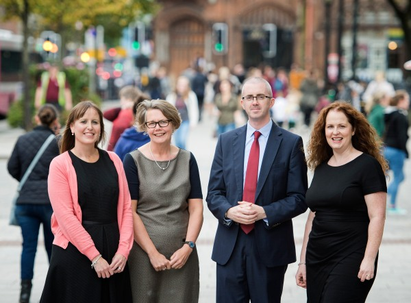 From left, Kathryn Torney, Deputy Editor, The Detail, Big Lottery Fund NI Director Joanne McDowell, Steven McCaffery, Editor, The Detail, and Lisa McElherron, Head of Public Affairs at NICVA
