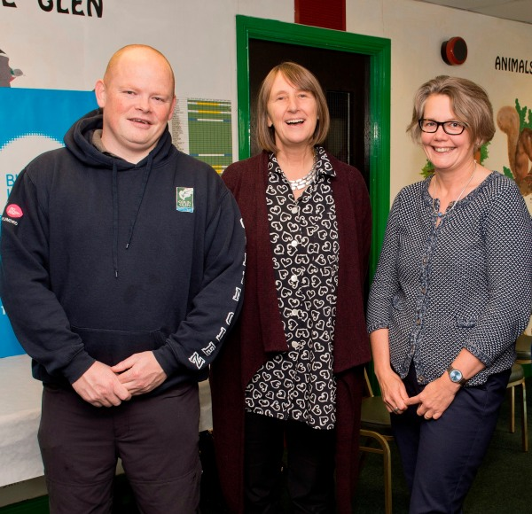 Colm Fanning, Colin Glen Trust with Dawn Austwick, Big Lottery Fund Chief Executive and Joanne McDowell, Big Lottery Fund NI Director