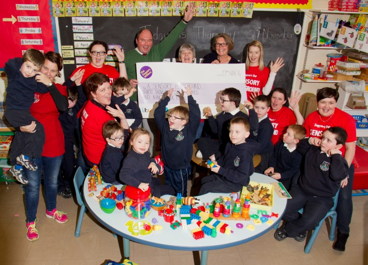 Glenview Support Group's A Sensory Playground project  celebrating winning £30,696