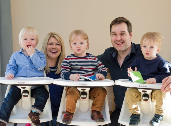 Ciara and John Kennedy with triplets (L-R) Jack, Oliver and Harry