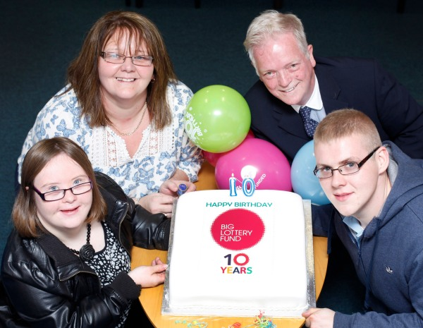 Celebrating winning the Big Lottery Fund 10th birthday competition: From left are Laura Duddy from Foyle Down Syndrome Trust, Donella Meade who nominated Cancer Fund for Children, Jake Shivers who nominated North Belfast Partnership and Kealan O'Kane who nominated Bogside and Brandywell Health Forum.
