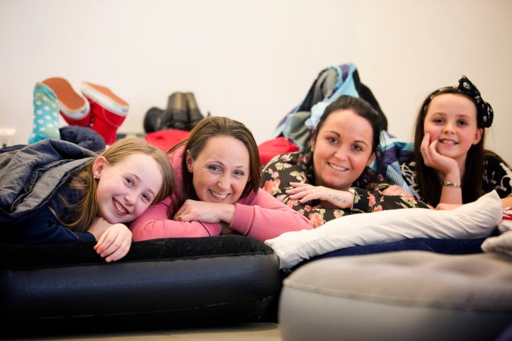 Tamzin Glenn and Hollie Rainey from Springhill Primary School with mums Sara and Joanne.
