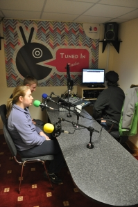 Ryan Kennedy, Maeve Fisher and Peter Vamos at Tuned In radio station