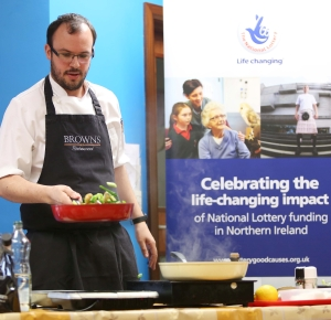 Chef Ian Orr swaps his award-winning restaurant for kitchen of National Lottery-funded Caw Golden Years Luncheon Club as part of campaign to celebrate Lottery funding for projects working with older people.