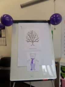 These Kuddles themed focus groups were for all children, young people and their carers to see and hear sample stories from the publisher and to add thoughts and feelings via a story tree.
