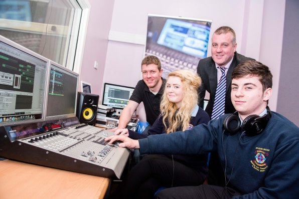 John Walls from Giga Training, Damien Coyle, Assistant Principal at CBS, Matt Denver and Emma Withers, both pupils at CBS.