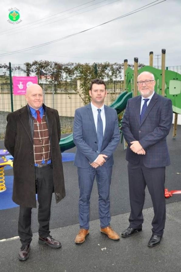 Ed Cousins, Director of Interacting Theatre Company Madrid and Professor Peter Finn, Principal of St. Marys College Belfast, cut the ribbon on the new play area recently installed at Holy Cross Primary School funded with a £10,000 grant from the Big Lottery Fund's Awards For All programme.