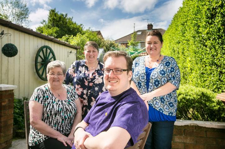 L-R Craig¹s mum Margaret, sister Amanda Orr, Craig and his other sister Joanne Taylor.