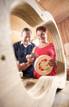 Tony Donavan with Anne Knox building guitars at The Right Key's Big Lottery Funded project