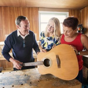 Tony Donovan, Sheila Smyth, Anne knox designing guitars as part of the Right Key's new Big Lottery funded project
