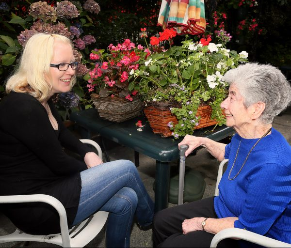 Jolene McAllister a volunteer at Newington Day Centre with Maisie Liddy, member of the centre