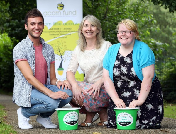 Shauna Kelpie, Development Officer for the Acorn Fund pictured with Faustina O'Hagan and Eamon Nugent from Liberty Consortium, one of the community groups across County Derry~Londonderry that have benefited from one of the Acorn Fund's funding programmes.