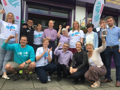 Noel and Olivia with members and staff from Head Injury Support in Newry