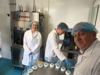 Water bottling at Acceptable Enterprises. L-R Olivia Cosgrove, Chris Campbell, David Hunter.