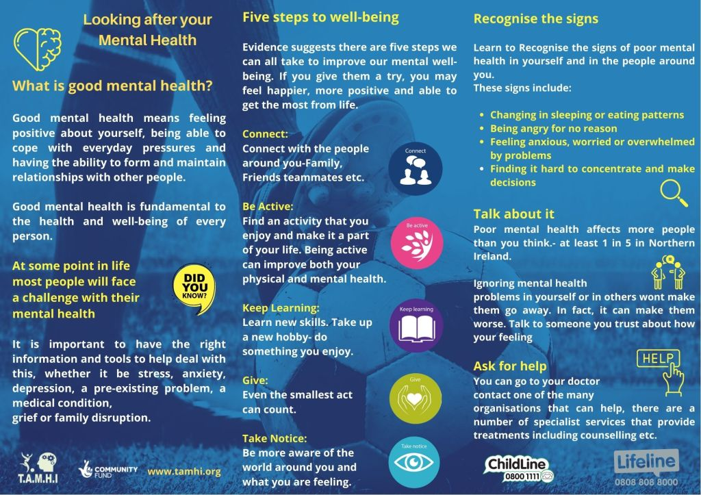 Graphic from TAMHI giving advice on looking after your mental health.